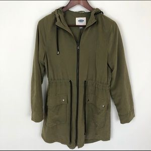 Old Navy Faux Suede Olive Trench Coat